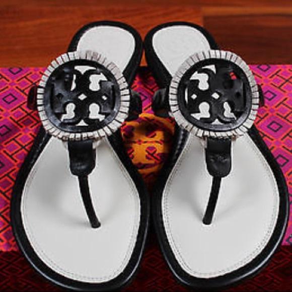 6286266dfae61 Tory Burch Leather Fringe Sandal Black   Ivory